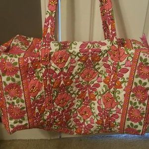 Vera Bradley Large Travel Duffle Bag Pink & White
